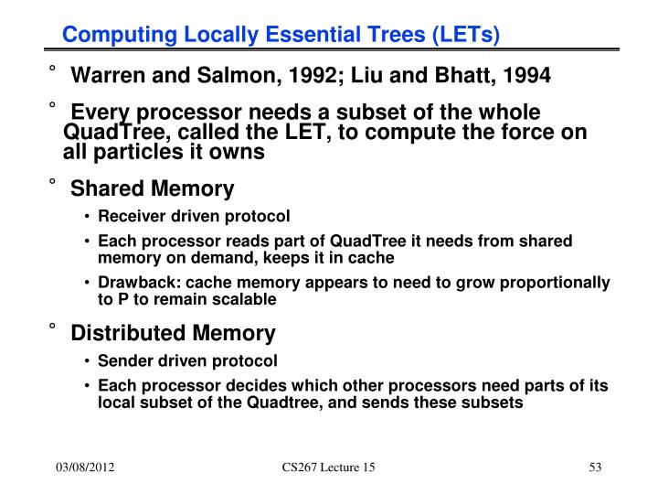 Computing Locally Essential Trees (LETs)