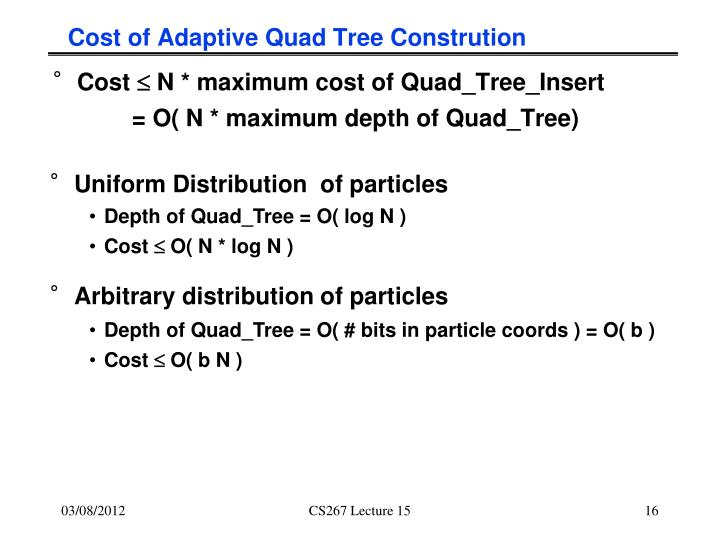 Cost of Adaptive Quad Tree Constrution