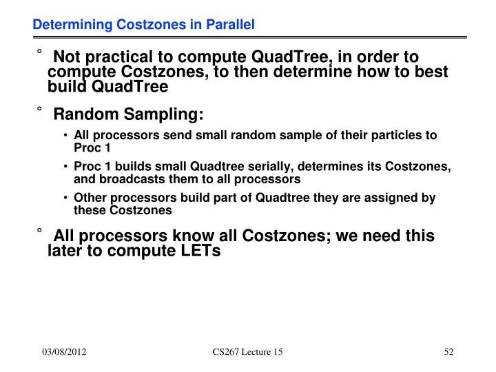 Determining Costzones in Parallel