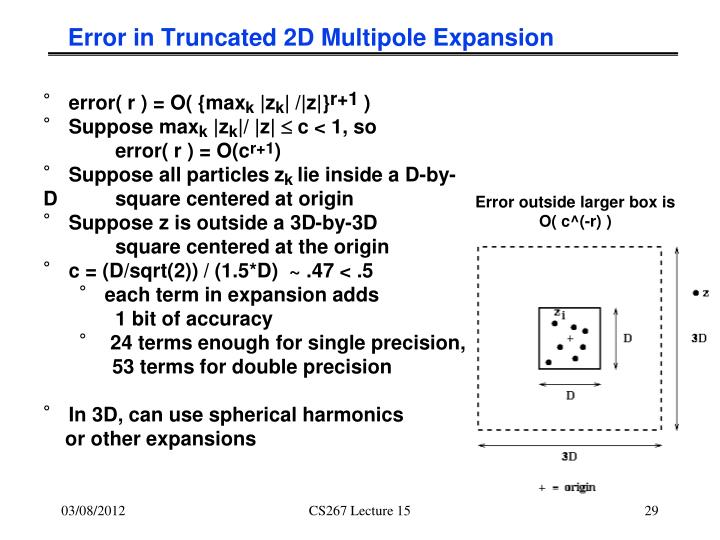 Error in Truncated 2D Multipole Expansion