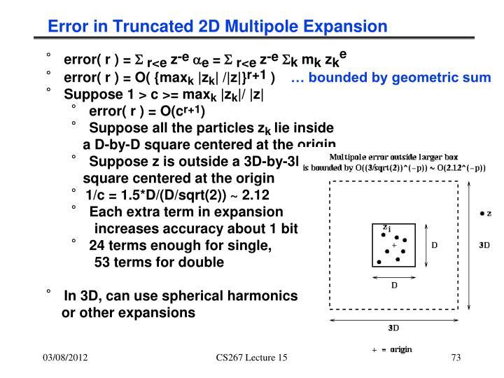 Error in Truncated 2D Multipole Expansion