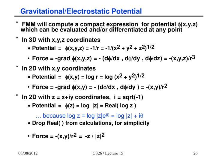 Gravitational/Electrostatic Potential