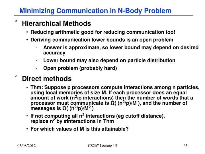 Minimizing Communication in N-Body Problem