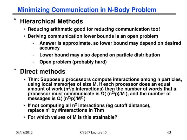 Minimizing Communication in N-Body Problem