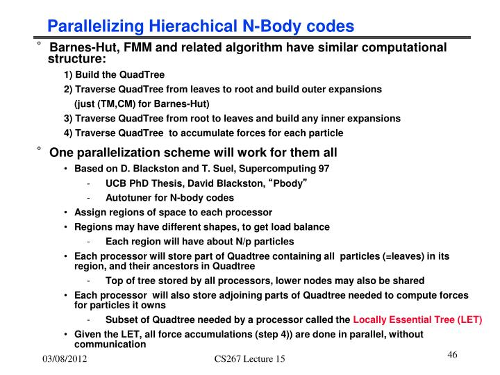 Parallelizing Hierachical N-Body codes
