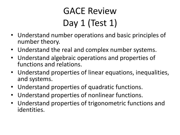 Gace review day 1 test 1