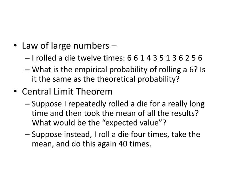 Law of large numbers –