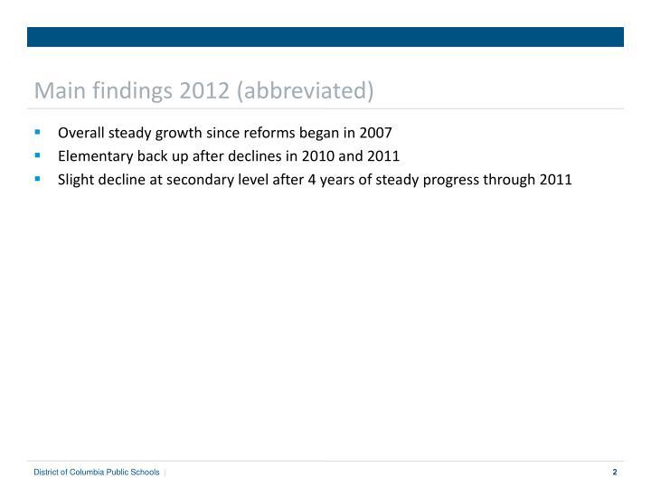 Main findings 2012 (abbreviated)