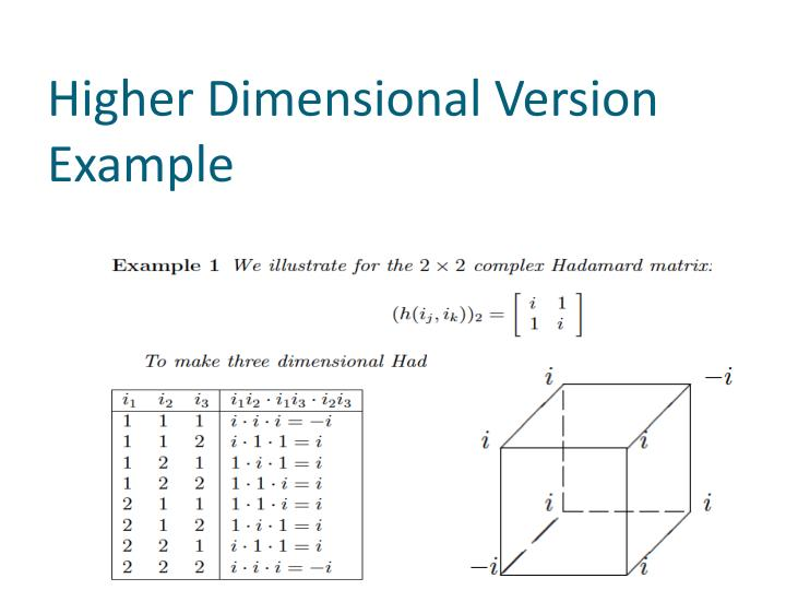Higher Dimensional Version Example