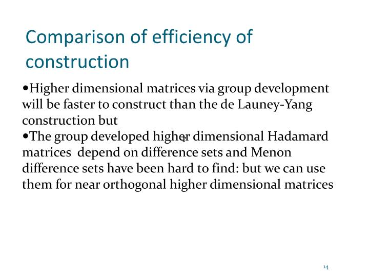 Comparison of efficiency of construction