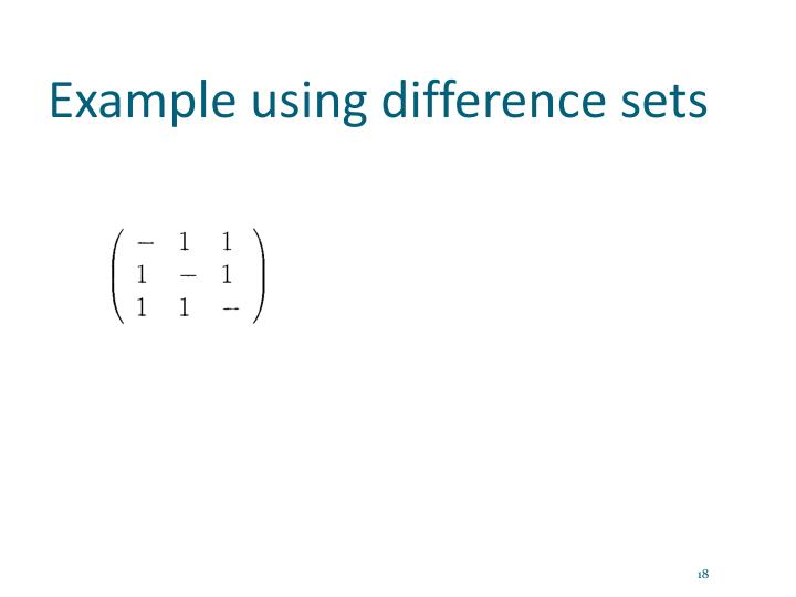 Example using difference sets