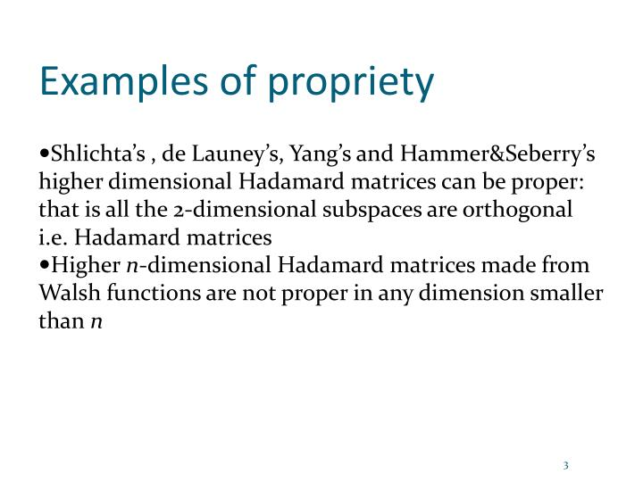 Examples of propriety