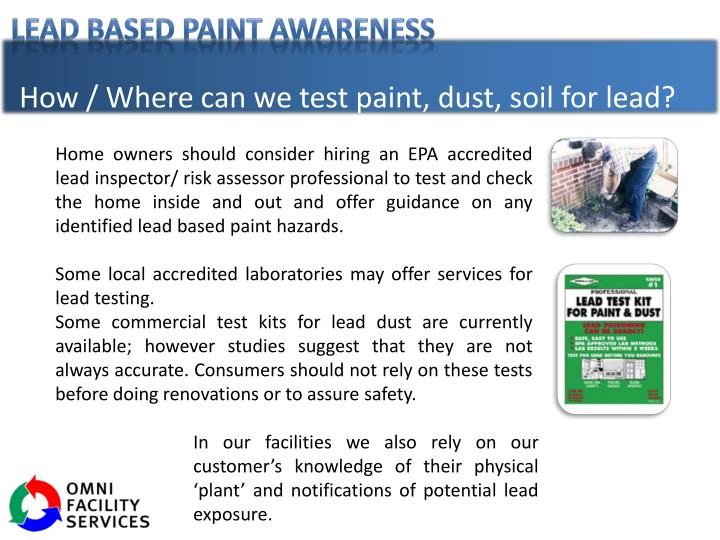 How / Where can we test paint, dust, soil for lead?