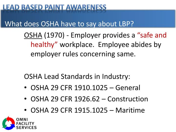 What does OSHA have to say about LBP?