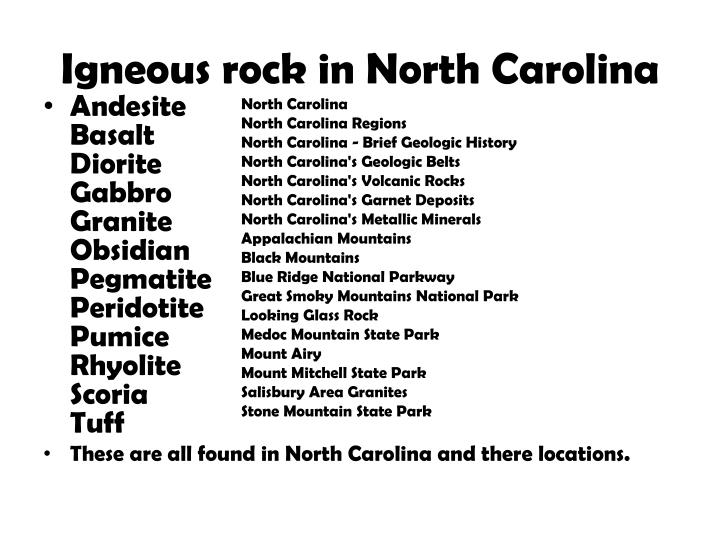 Igneous rock in North Carolina