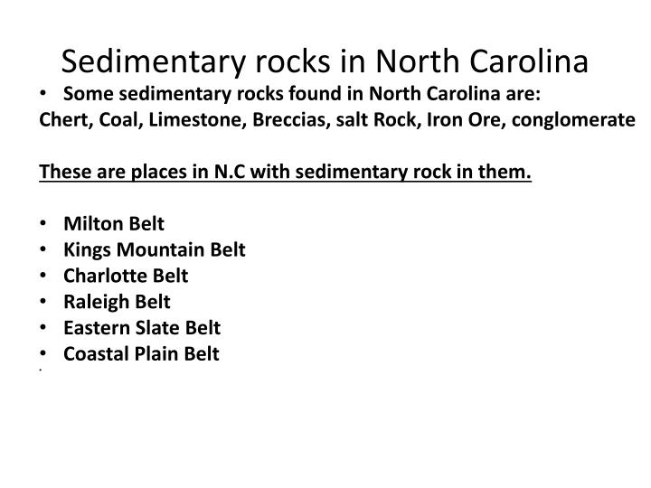 Sedimentary rocks in North Carolina