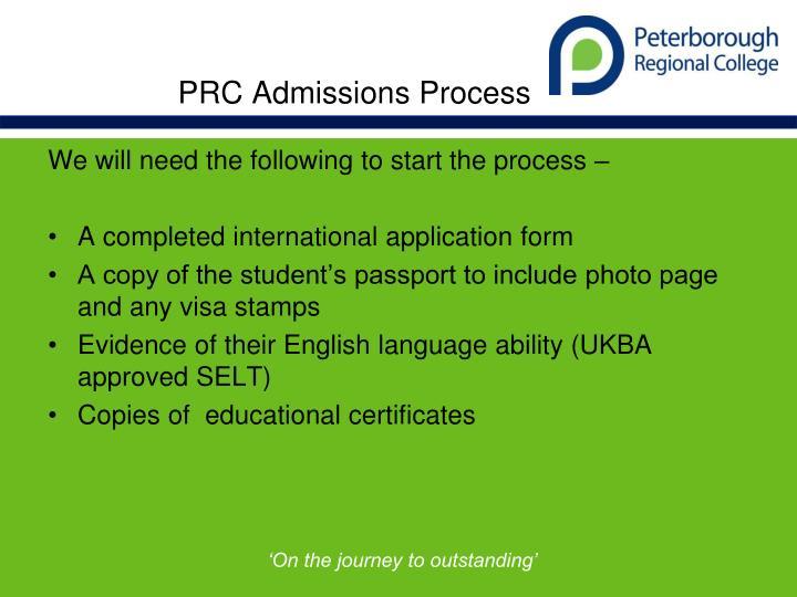 PRC Admissions Process