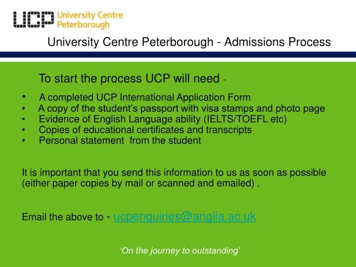 University Centre Peterborough - Admissions Process