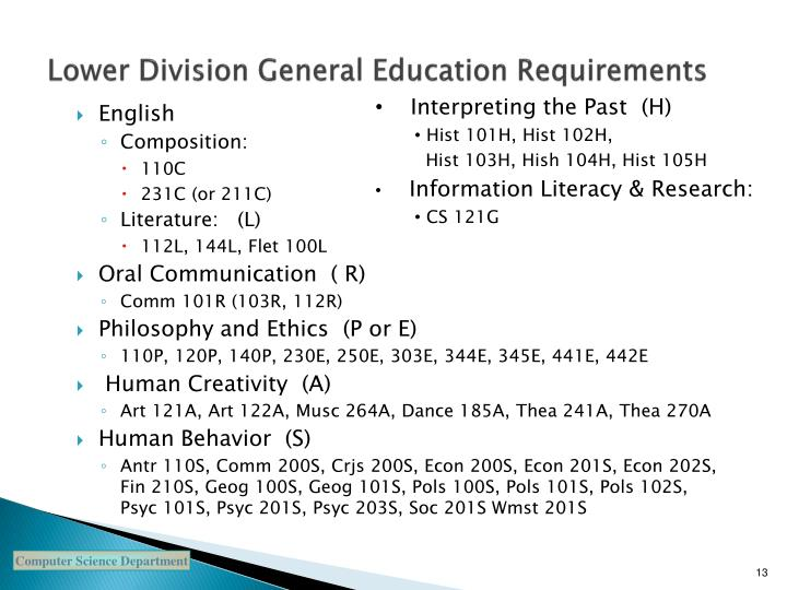 Lower Division General Education Requirements