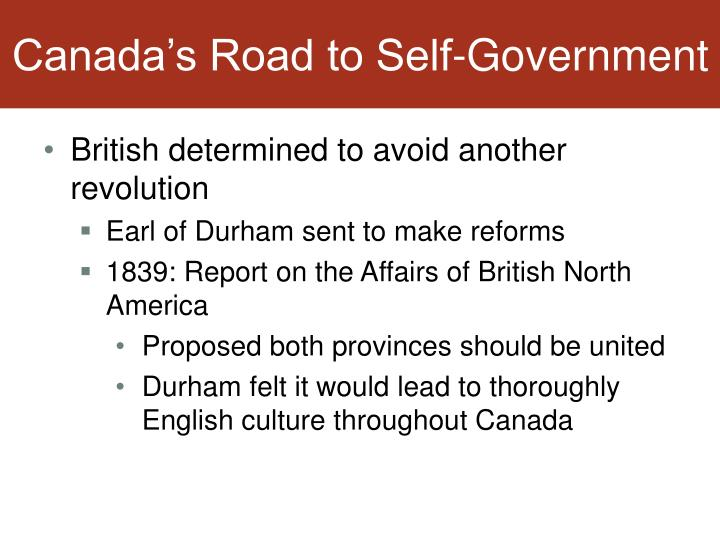 Canada's Road to Self-Government