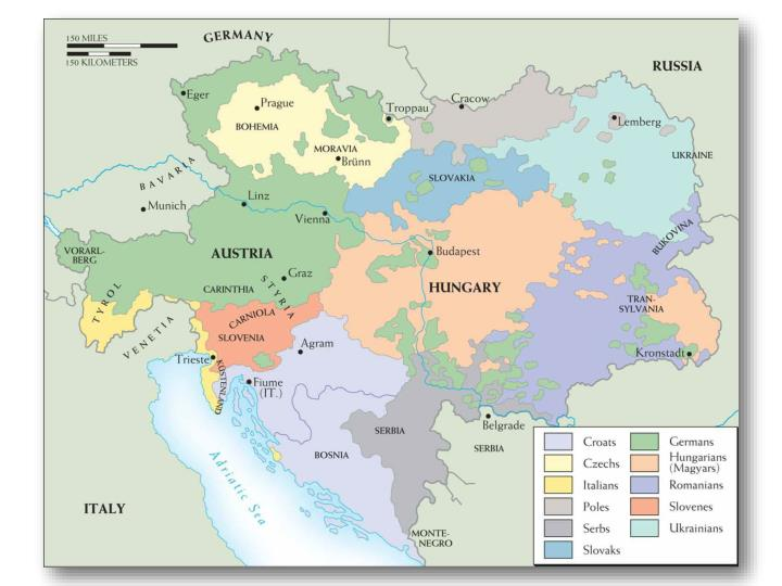 Map 23–6. Nationalities within the Habsburg Empire