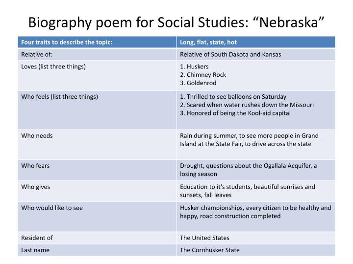 "Biography poem for Social Studies: ""Nebraska"""
