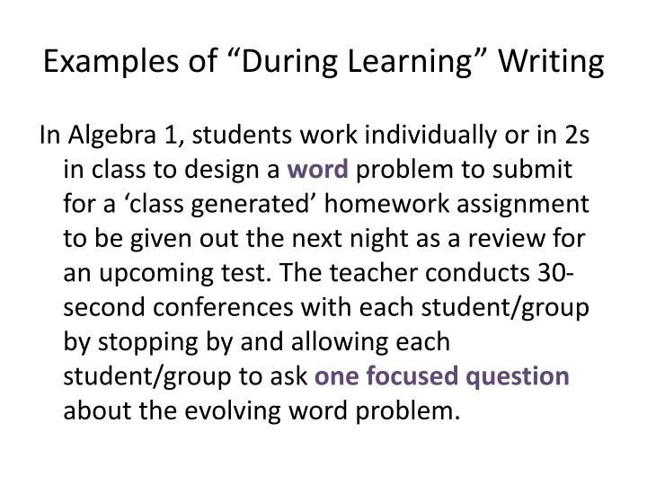 "Examples of ""During Learning"" Writing"