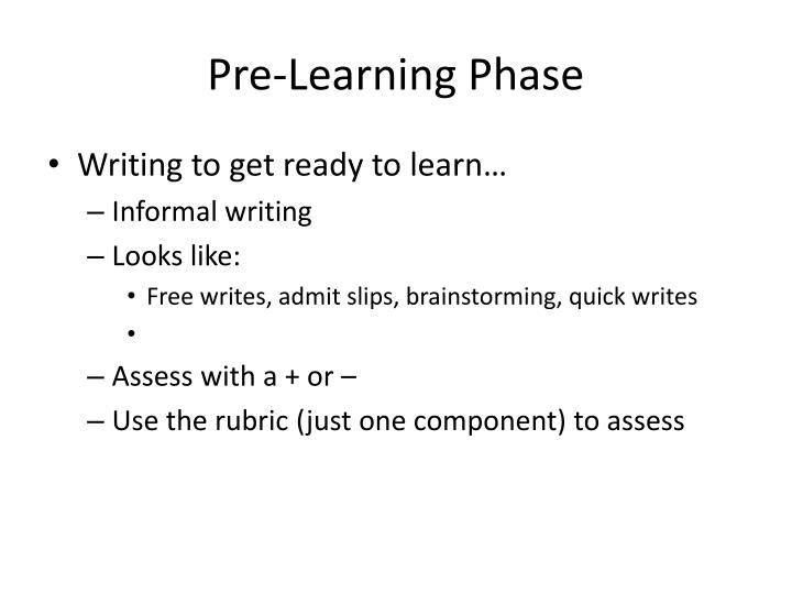 Pre-Learning Phase