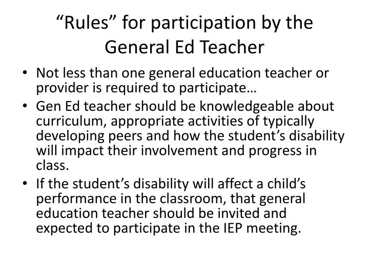 """Rules"" for participation by the General Ed Teacher"