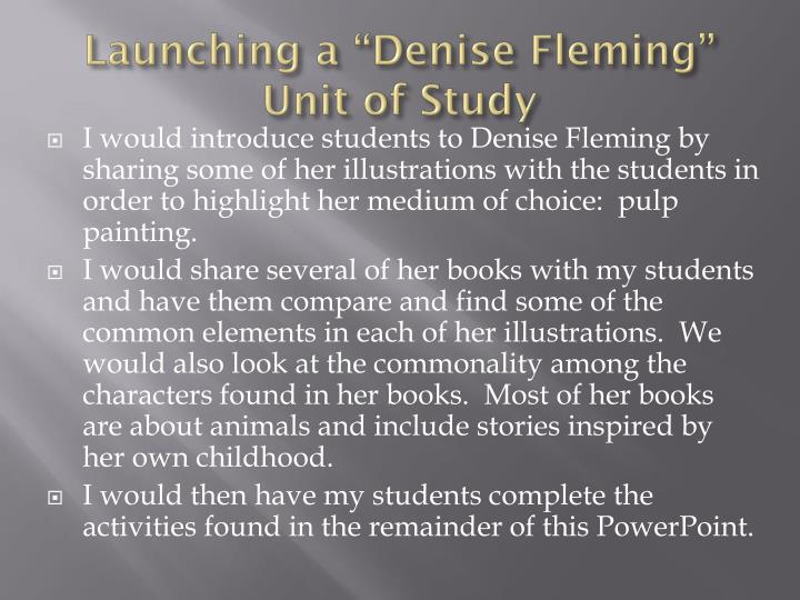 "Launching a ""Denise Fleming"" Unit of Study"