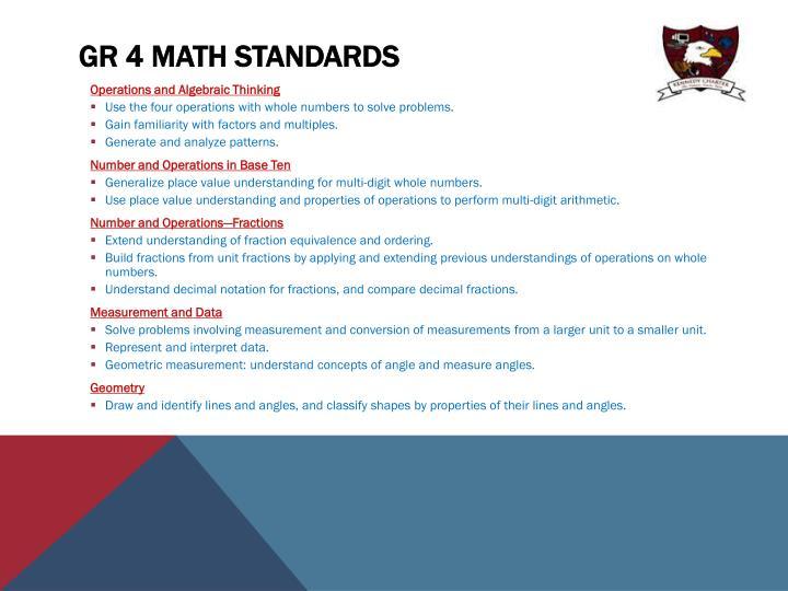 Gr 4 Math Standards