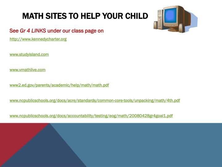 Math Sites to help your Child