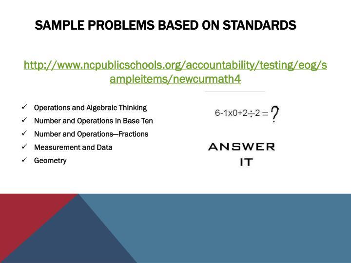 Sample Problems based on Standards