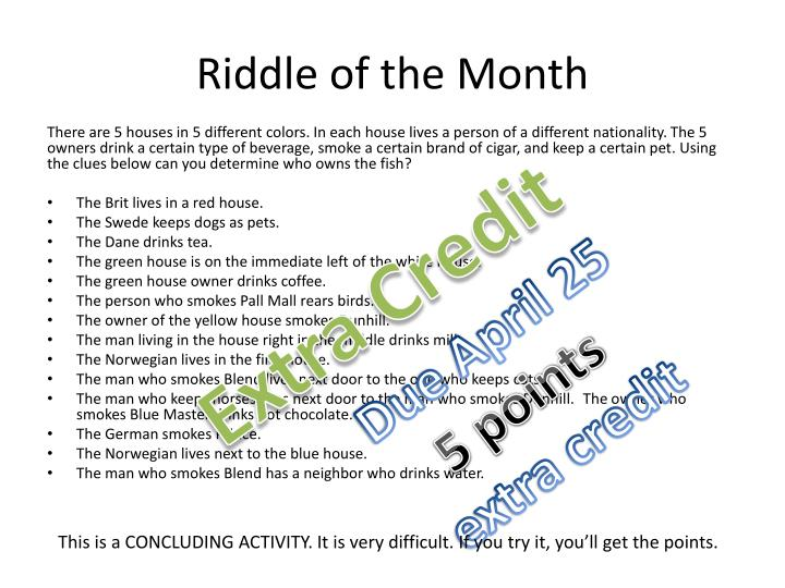 Riddle of the month