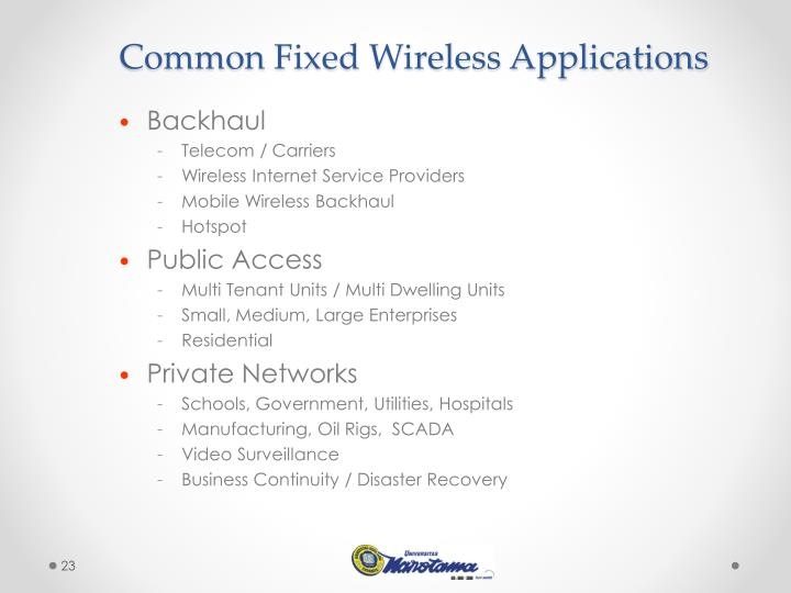 Common Fixed Wireless Applications