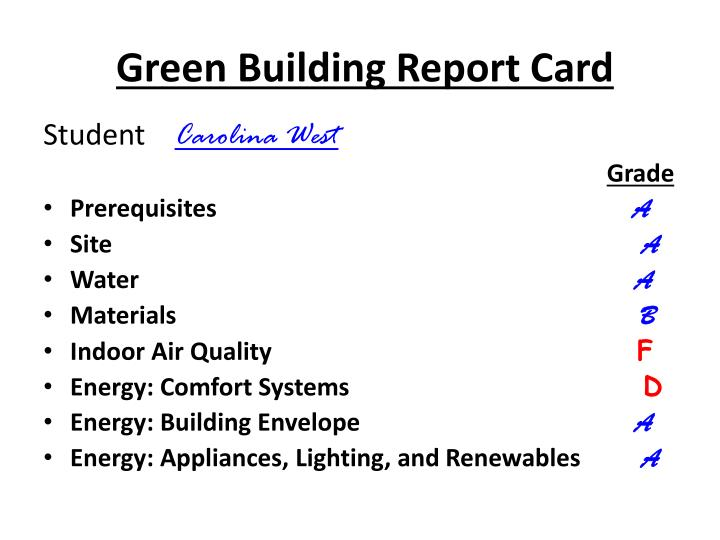 Green Building Report Card