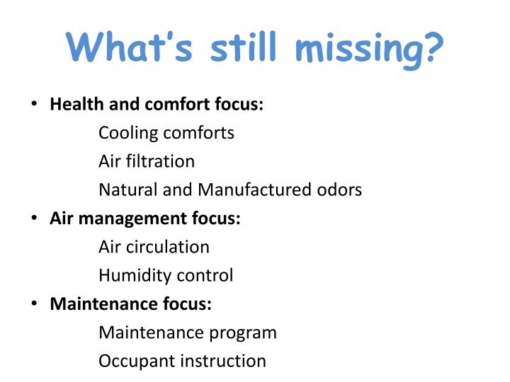 What's still missing?