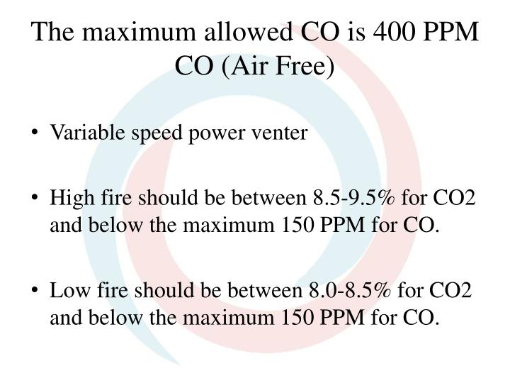 The maximum allowed CO is 400 PPM CO (Air Free)