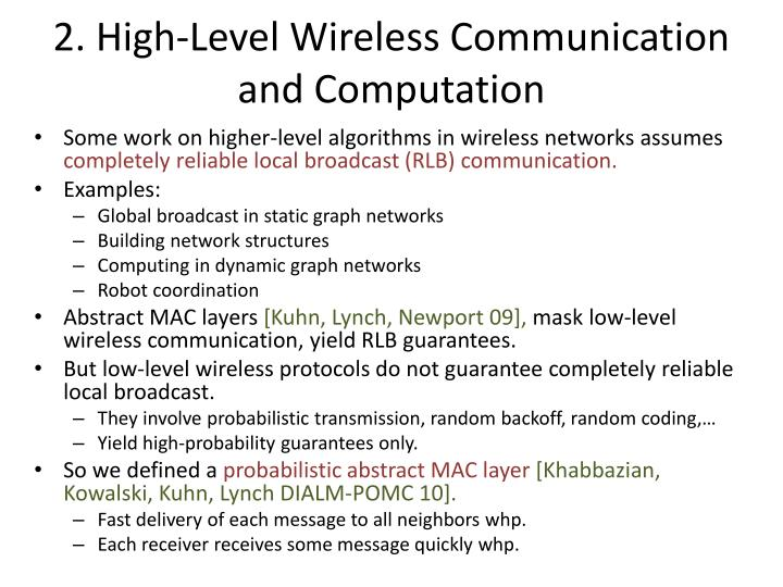 2. High-Level Wireless Communication and Computation