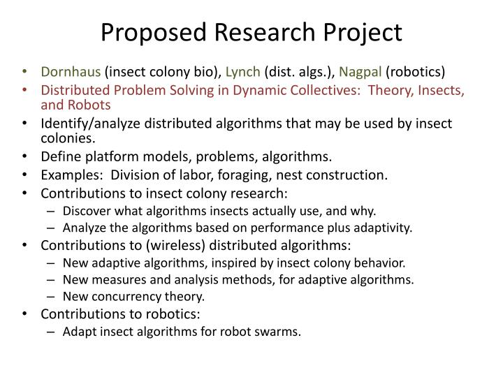 Proposed Research Project