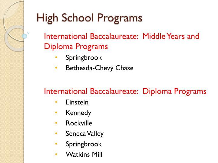 High School Programs