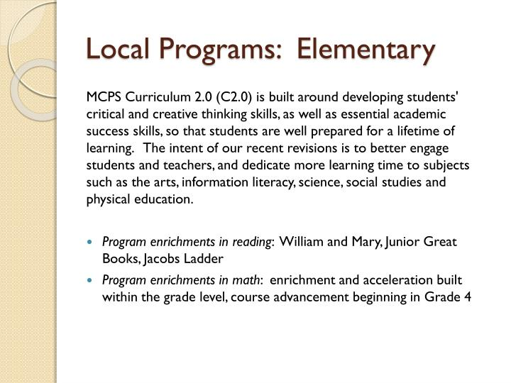 Local Programs:  Elementary