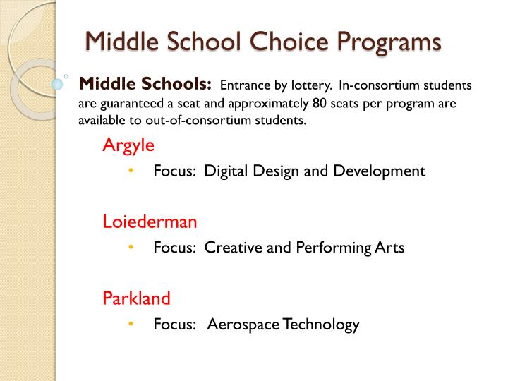 Middle School Choice Programs