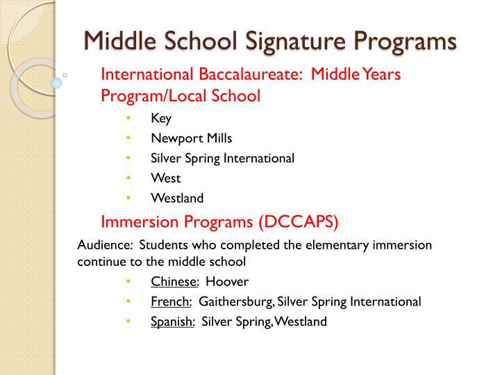 Middle School Signature Programs