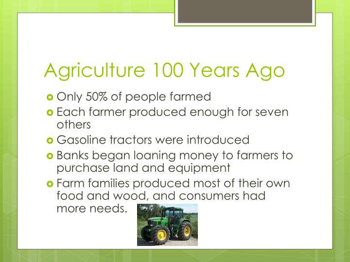 Agriculture 100 Years Ago
