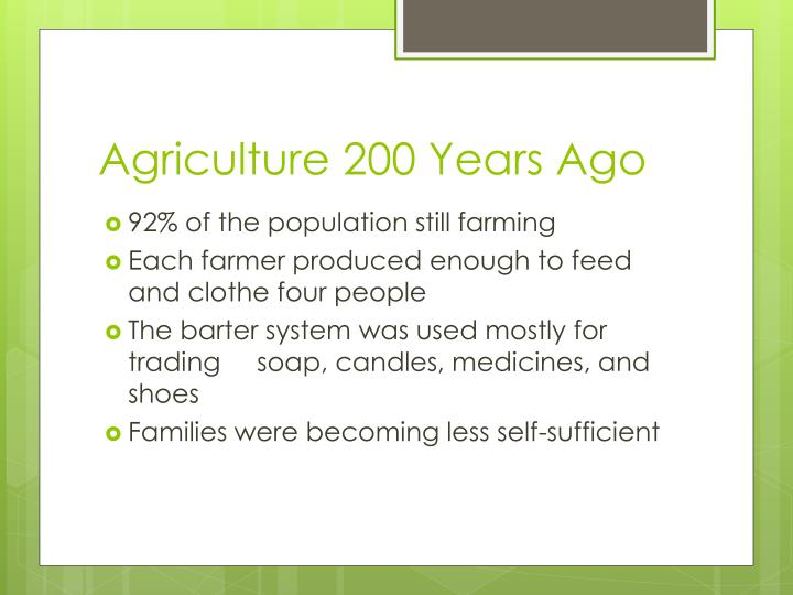 Agriculture 200 Years Ago