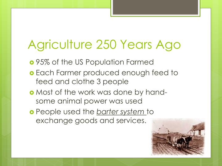 Agriculture 250 Years Ago