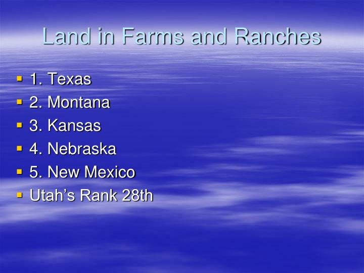 Land in Farms and Ranches