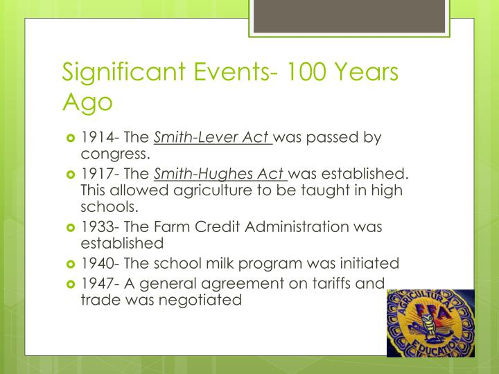 Significant Events- 100 Years Ago