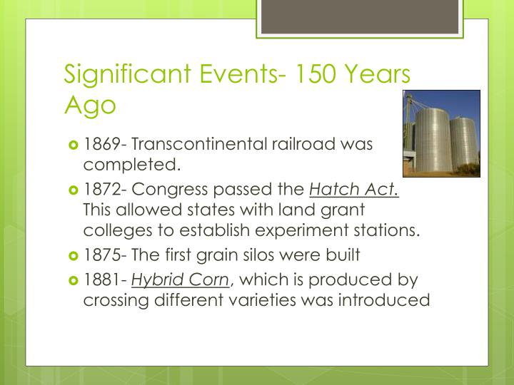 Significant Events- 150 Years Ago